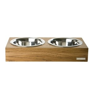 Double Wooden Dog Bowl