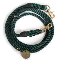 Hunter Green Rope Dog Leash, Adjustable Hunter Green